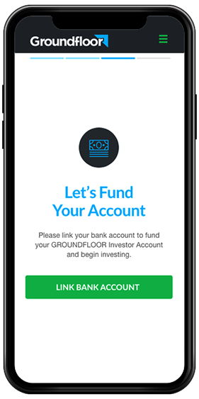 The GROUNDFLOOR fund account screen, shown on a phone