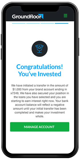 The GROUNDFLOOR investment confirmation screen, shown on a phone